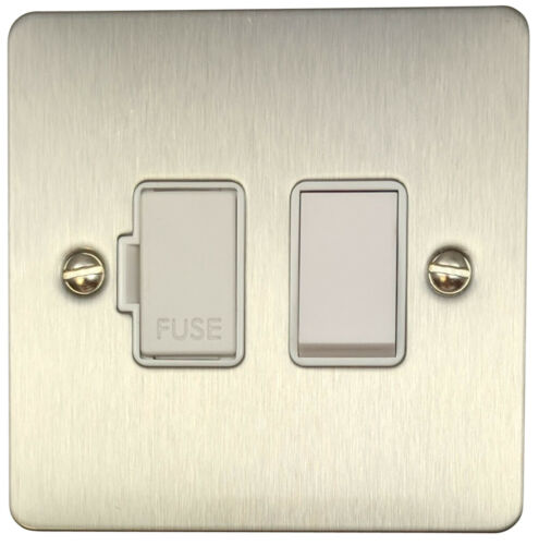 G/&H FSS57W Flat Plate Brushed Steel 1 Gang Fused Spur 13A Switched
