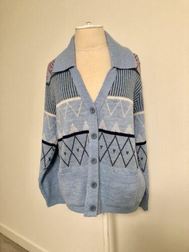 Vintage Angelli Knitting Mills Cardigan 42 M/L Blu