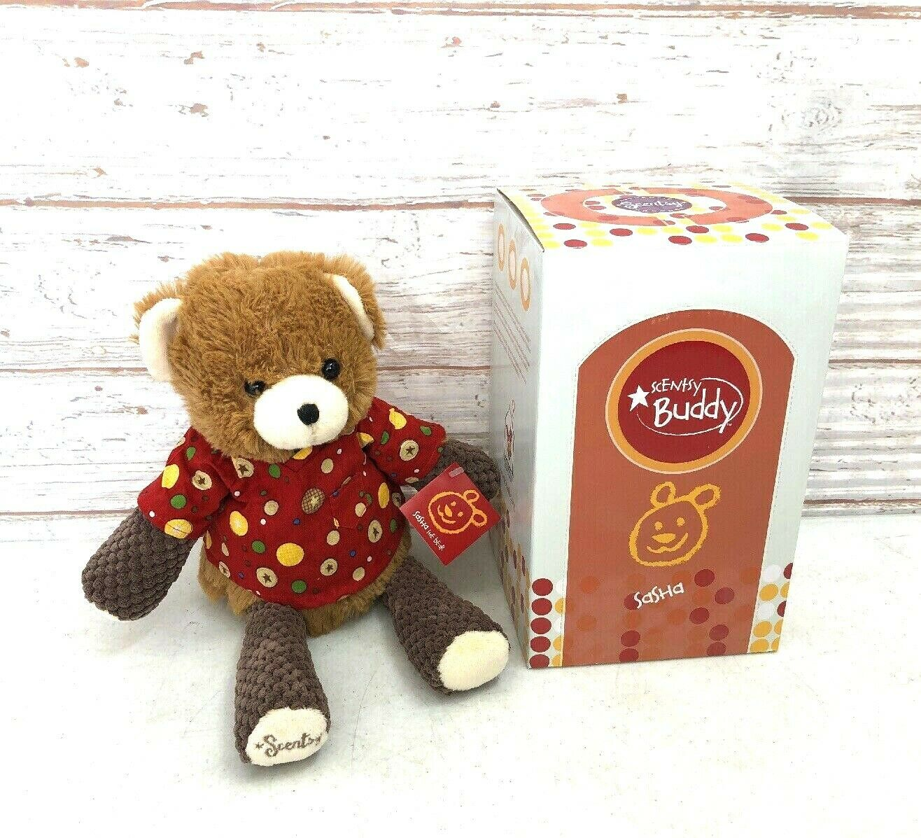 Scentsy Buddy Sasha the Bear w tag New In The Box. NO Scent Pak Included.
