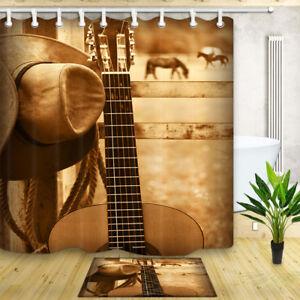 Cowboy Hat And Guitar Bathroom Decor Shower Curtain Waterproof