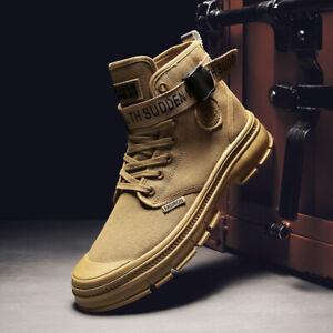 Moda-Para-hombres-Informal-Botas-al-Tobillo-Al-Aire-Libre-Ejercito-alta-Top-zapatos-de-lona-con