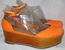 "Bright Orange Leather JEFFREY CAMPBELL ""SUEBEE"" Ankle Wrap Wood Platforms 8.5"