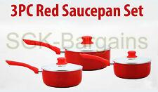 3PC INDUCTION CERAMIC SAUCEPAN COOKWARE SET WITH GLASS LID PAN POT RED