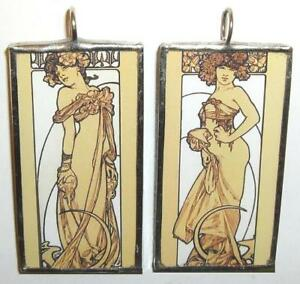MUCHA-TWO-WOMEN-STANDING-ART-GLASS-PENDANT