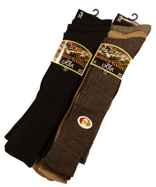 Mens Non Elastic Wool Socks Assorted Colours Size 6-11 6 Pairs Fine Wool