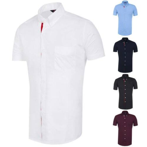 Mens Short Sleeve Shirts Casual Formal Slim Fit Shirt Top  M L XL  XXL PS18