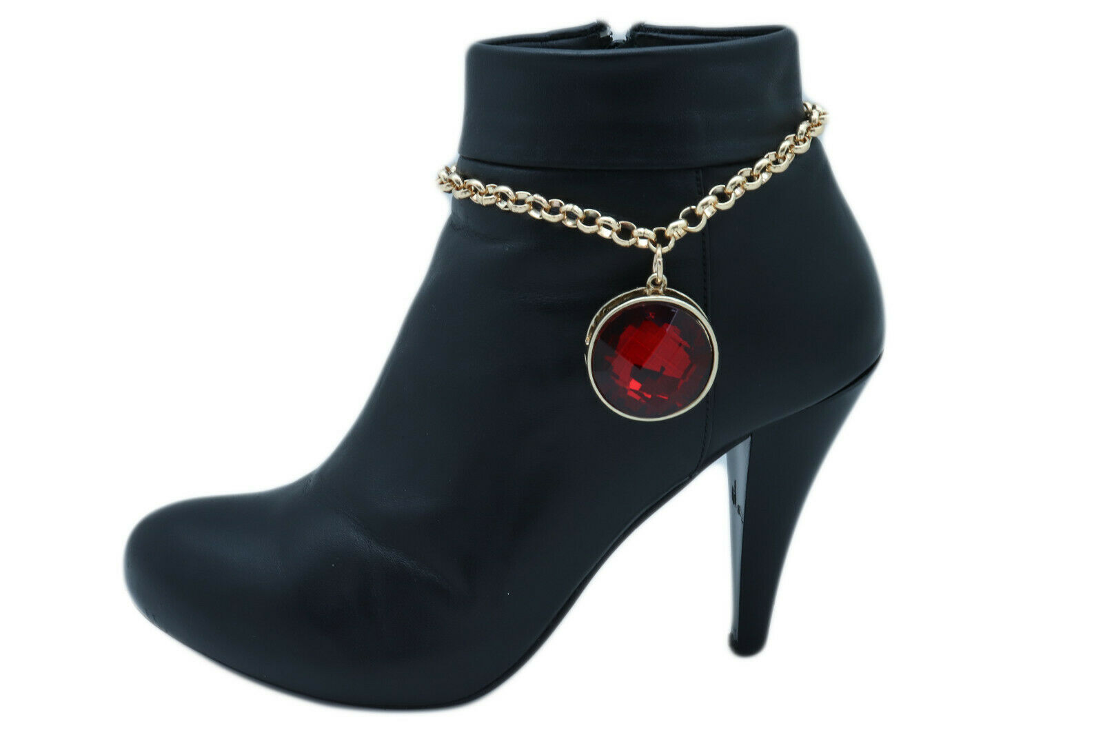Women Gold Metal Boot Chain Bracelet Shoe Anklet Big Red Color Bling Bead Charm