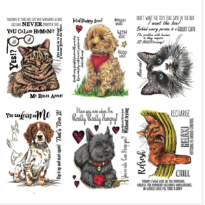 Pets A6 Unmounted Rubber Stamps Sheena Douglass A Little Bit Sketchy