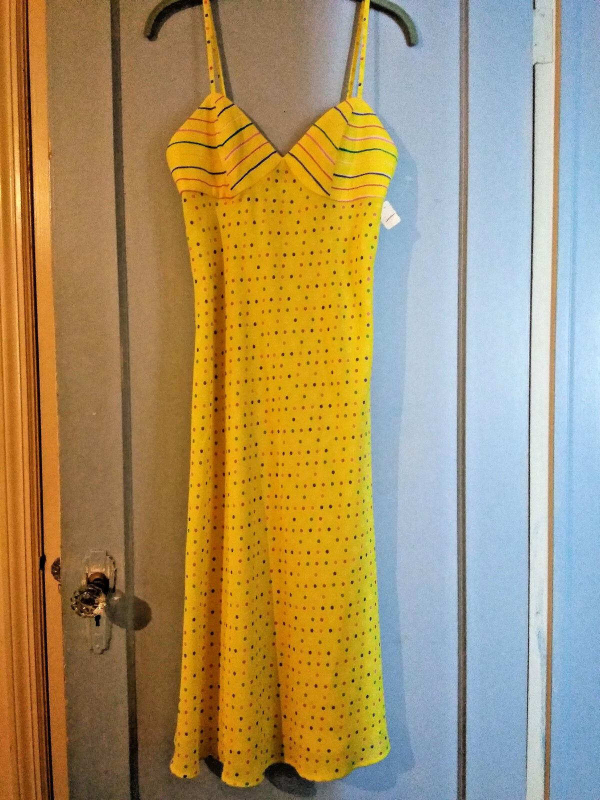 Vintage JUDY HORNBY Polka Dot & Stripes Yellow Dress NWT