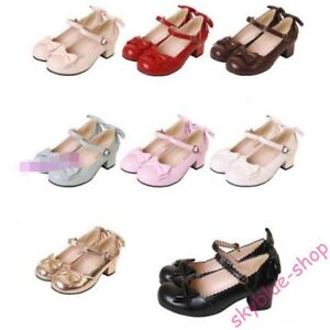 Womens-New-Bowknot-Buckle-Strap-Mary-Janes-Block-Med-Heels-Lolita-Cosplay-Shoes