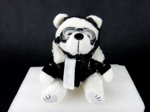 "Goggles /& Helmet Black Faux Leather Jacket 6/"" Plush White Biker Bear"