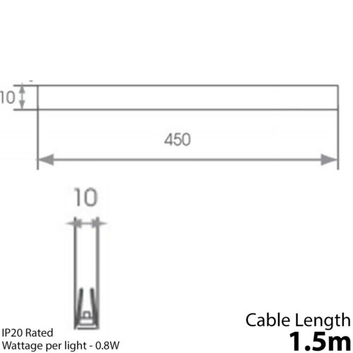 4mm Glass Illuminated Modern Kitchen Unit Light 450mm Clip-On LED Shelf Kit