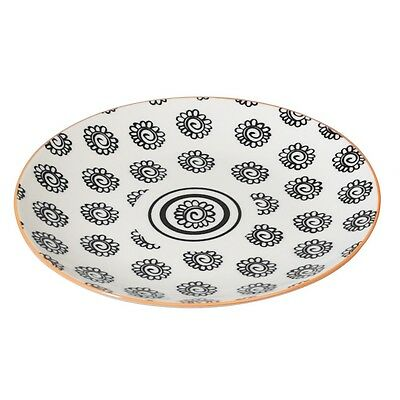 dotcomgiftshop PORCELAIN JAPANESE STYLE SIDE PLATE BLACK FLOWERS DESIGN