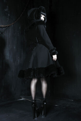 Mantel gotik süß lolita kapuze prinzessin winter pelz spitze barock PunkRave B