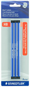 Staedtler-Mars-Carbon-2mm-HB-Drawing-Lead-for-2mm-Lead-Holders-6pc