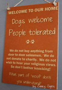 Dogs-Welcome-People-Tolerated-Wooden-Door-No-Soliciting-Warning-Woof-Puppy-Sign