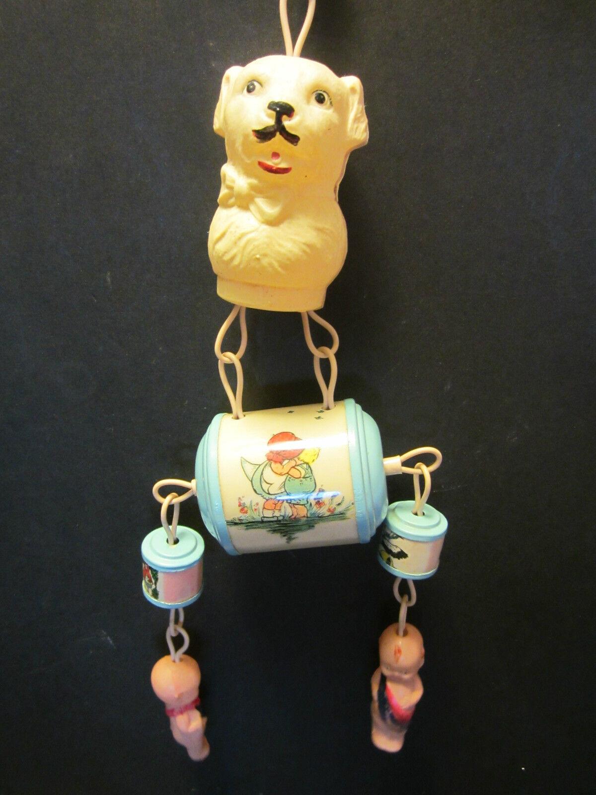rödtle 1920's Celluloid Crib Toy 6 Pc röd Ridding Hood Dog dockor Barn American