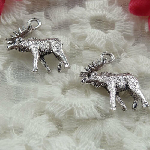 Free Ship 60 pieces Antique silver moose charms 18x15mm #222