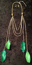 NEW - Gorgeous Long Gold Chains and Green Feathers Necklace/Earrings-Gift Boxed