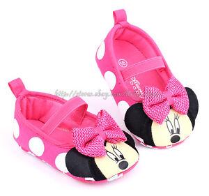Newborn Infant Baby Girls Minnie Mouse Prewalker Crib Shoes Toddler Sandals New
