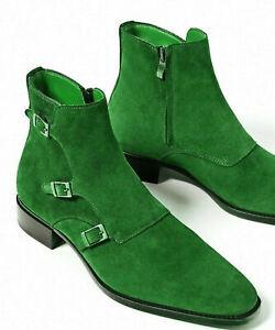 Handmade Men S High Ankle Green Triple Buckle Straps Monk