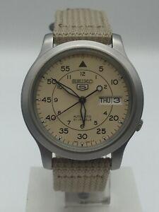 Seiko 5 Automatic Beige NATO Military Style Strap Men's Watch SNK803K2