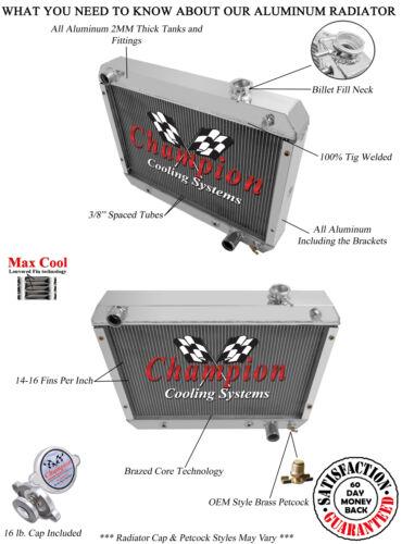 3 Row Aluminum Champion WR Radiator Chevy V8 1962 1963 1964 1965 Chevy Nova