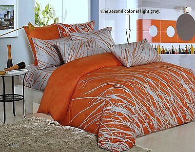 Orange-Grey Tree Cotton Bedding Set:1 Duvet Cover 2 Pillow Sham Full/Queen/King