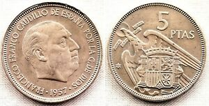 Estado-Espanol-5-Pesetas-1957-64-Madrid-SC-UNC-FDC-Escasa