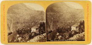 Suisse Hotel Da La Testa Nera Foto A.Gabler Stereo c1870 Vintage Albumina