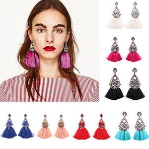 Women-Fashion-Rhinestone-Crystal-Long-Tassel-Drop-Dangle-Earrings-Thread-Fringe