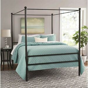 Metal Canopy Bed Frame Queen Size With Headboard Slatted Frames
