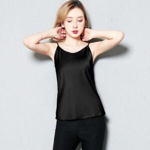 Lady-Saten-Seda-Sintetica-Correa-camisolas-Tank-Tops-Chaleco-Sin-Mangas-Camiseta-Camiseta-basica