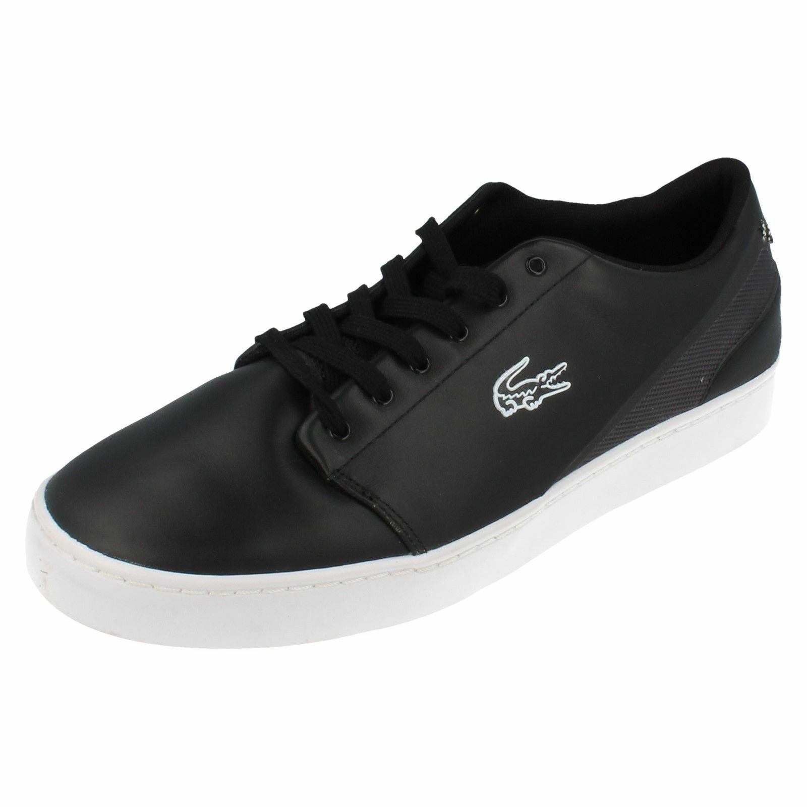Mens Court Legacy Black/Grey/White Leather/Canvas Trainers by Lacoste retail £45