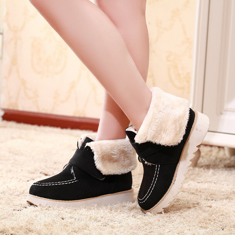 Women Ankle Boots Low Heels Winter Warm Fur Lined Round Toe Buckle Casual Shoes