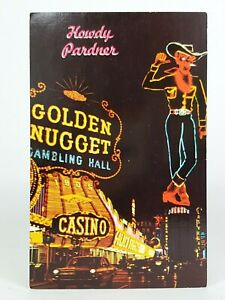 Download Vintage Postcard Fremont Street Las Vegas, NV Golden Nugget Neon Cowboy Color | eBay
