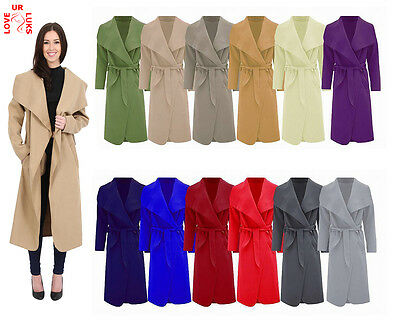 Women Italian Long Duster Jacket Ladies French Belted Trench Waterfall Coat 8-14