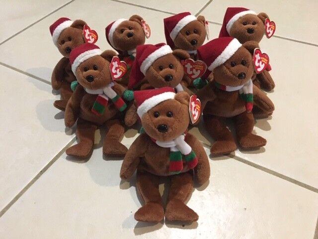 NEW TY 2008 Holiday Teddy Bear BEANIE BABY LOT of 8 Beanbag Plush TOY Christmas