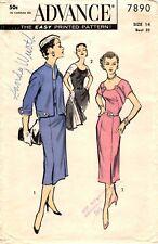 02a6a5a6 item 6 Vintage 1950s Advance Sewing Pattern Women's DRESS & JACKET 7890 Sz  14 B32