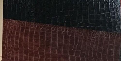 Bonded leather book binding material,Amazona Grain Crocodile Black Red Walnut