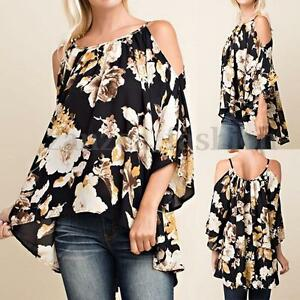 Women-Floral-Print-3-4-Sleeve-Off-Shoulder-Loose-Casual-Tops-T-Shirt-Blouse-Plus
