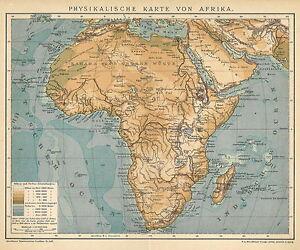 alte historische landkarte 1898 physikalische karte von. Black Bedroom Furniture Sets. Home Design Ideas