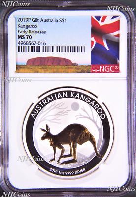 2020 P Australia GILDED Silver Kangaroo NGC MS 70 1oz Coin w//OGP gilt ER-A LABEL