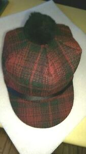 Image is loading Original-Wool-Scotch-Cap-Red-and-Green-Plaid- 250cb907483