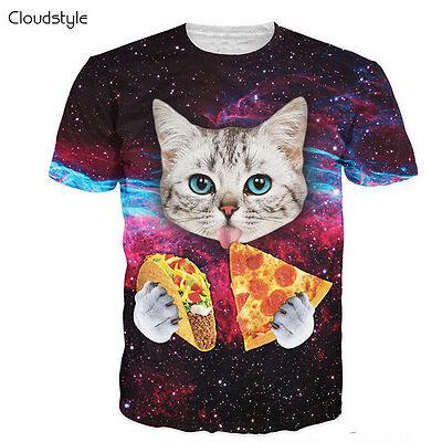 Newest Fashion Womens/Mens Cute Cat Eating Tacos Pizza 3D print T-shirt UKT06