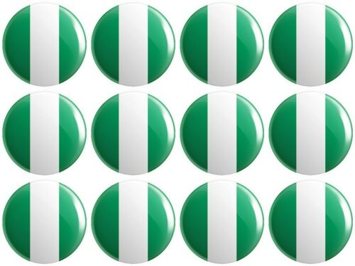 Federal Republic of 12 x Nigeria Flag BUTTON PIN BADGES 25mm 1 INCH Nigerian