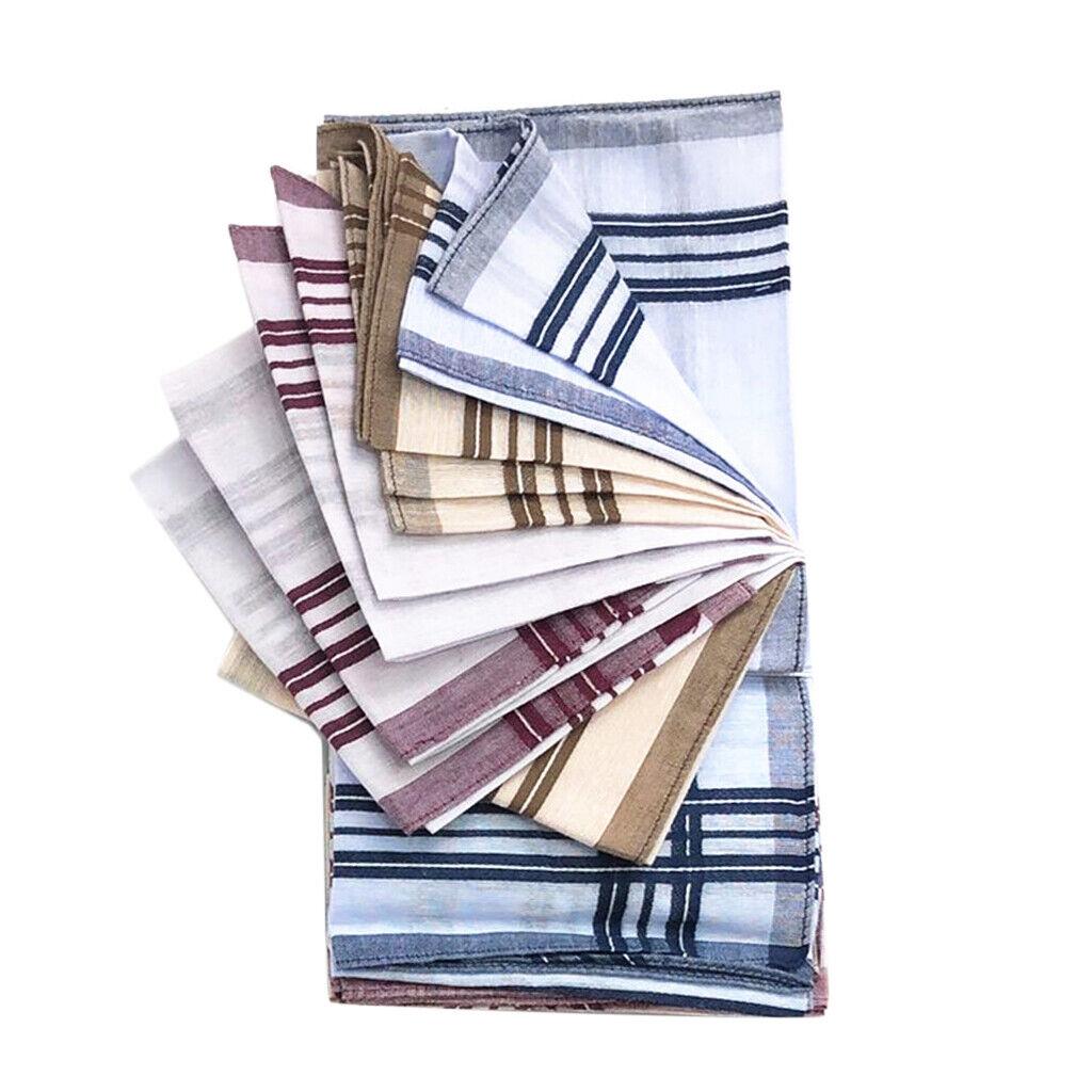 12pcs Pure Cotton Plaid Stripes Handkerchiefs Vintage Hanky Bridal 15''