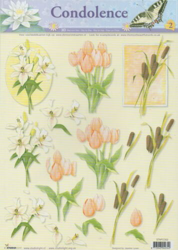 10 x A4 Decoupage Sheets By Studio Light STAPCO002 Condolence Cardmaking
