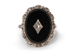 Antik-Ring-ca-1900-mit-Diamanten-Onyx-585-Gelbgold-Weissgold-Gr-56-BRORS-17062
