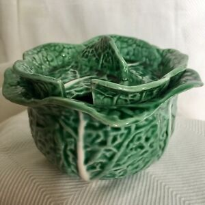 Vintage-Portugal-Green-Cabbage-Leaf-Majolica-Sugar-Bowl-with-Lid-No-Spoon